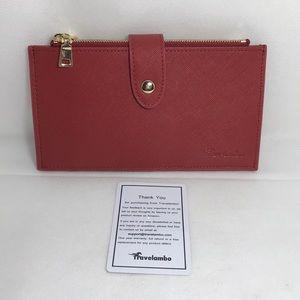 Travelambo NEW TFID Red Brick Wallet & Card Holder